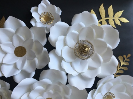 White and gold paper flowers