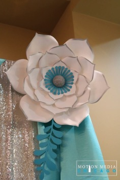 Silver and blue paper flower
