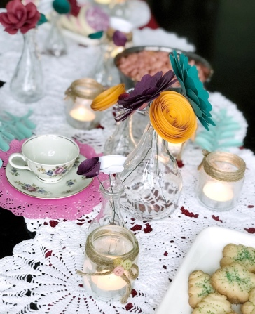 Paper flower tea party