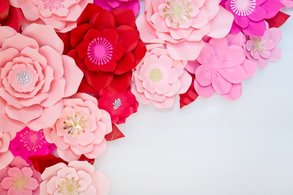 Valentine's Day paper flower photo backdrop