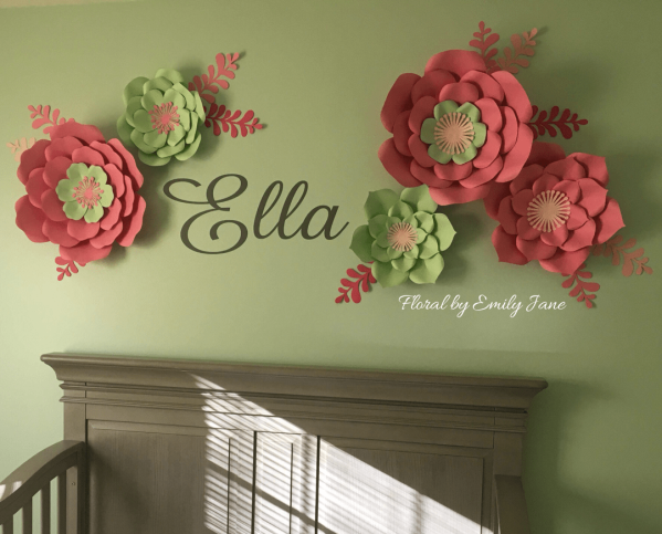 Paper flower nursery decor