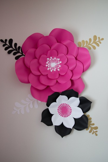 A close up of the paper flowers