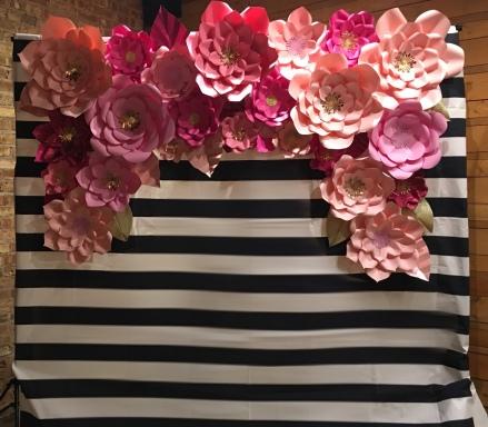 Kate Spade paper flower backdrop