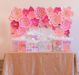 Paper flower backdrop baby shower